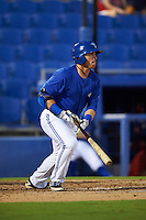 Dunedin Blue Jays outfielder L.B. Dantzler (21) at bat during the second game of a doubleheader against the Palm Beach Cardinals on July 31, 2015 at Florida Auto Exchange Stadium in Dunedin, Florida.  Dunedin defeated Palm Beach 4-0.  (Mike Janes/Four Seam Images)