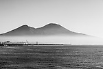 Early morning mist on the Bay of Naples and Mount Vesuvius, Naples, Italy