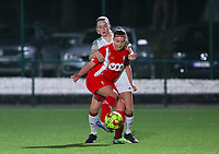 Estee Cattoor (11 OHL)  and Davinia Vanmechelen (25 Standard)  battle for the ball during a female soccer game between Oud Heverlee Leuven and Standard Femina De Liege on the 10th matchday of the 2020 - 2021 season of Belgian Womens Super League , sunday 20 th of December 2020  in Heverlee , Belgium . PHOTO SPORTPIX.BE   SPP   SEVIL OKTEM