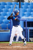 GCL Blue Jays right fielder Antony Fuentes (57) at bat during the first game of a doubleheader against the GCL Phillies on August 15, 2016 at Florida Auto Exchange Stadium in Dunedin, Florida.  GCL Phillies defeated the GCL Blue Jays 7-5 in a continuation of a game originally started on July 30th.  (Mike Janes/Four Seam Images)