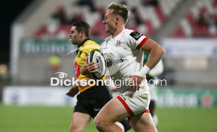 Friday 2nd October 2020   Ulster Rugby vs Benetton Rugby<br /> <br /> Stewart Moore runs in to score during the PRO14 Round 1 clash between Ulster Rugby and Benetton Rugby at Kingspan Stadium, Ravenhill Park, Belfast, Northern Ireland. Photo by John Dickson / Dicksondigital
