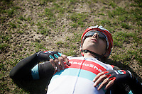 111th Paris-Roubaix 2013..Fabian Cancellara (CHE) exhausted after winning his 3rd Paris-Roubaix.
