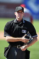 Umpire Brandin Sheeler during a game between the Brooklyn Cyclones and Batavia Muckdogs on August 10, 2014 at Dwyer Stadium in Batavia, New York.  Brooklyn defeated Batavia 5-2.  (Mike Janes/Four Seam Images)