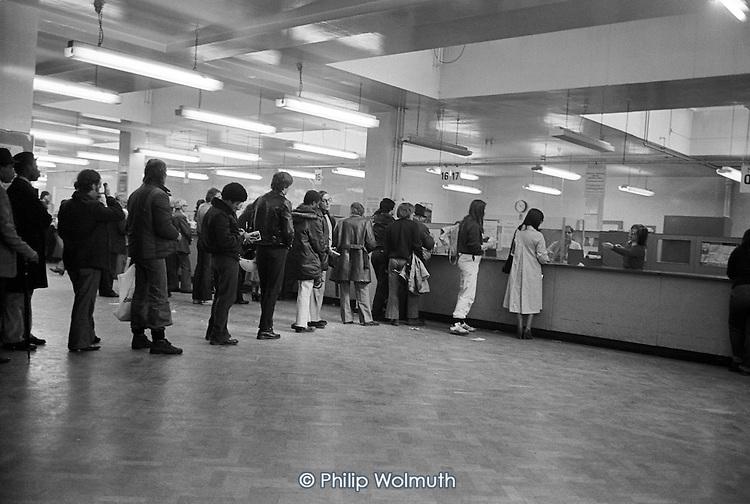 Dole queue at Lisson Grove DHSS office, London.