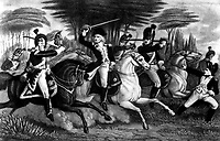 Col. (William Augustine) Washington at the Battle of Cowpens.  January 1781. Copy of print by S. H. Gimber.  (George Washington Bicentennial Commission)<br /> Exact Date Shot Unknown<br /> NARA FILE #:  148-GW-390<br /> WAR & CONFLICT #:  42