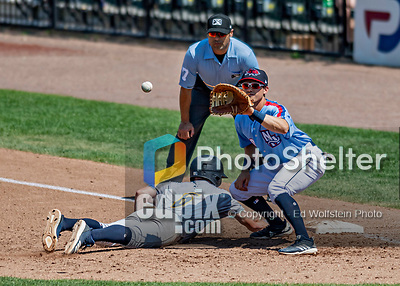 23 June 2019: New Hampshire Fisher Cats first baseman Nash Knight in action during a pick-off attempt in the 3rd inning against the Trenton Thunder at Northeast Delta Dental Stadium in Manchester, NH. The Thunder defeated the Fisher Cats 5-2 in Eastern League play. Mandatory Credit: Ed Wolfstein Photo *** RAW (NEF) Image File Available ***