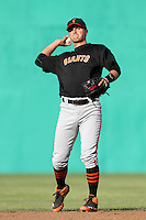 Joe Panik #29 of the San Jose Giants takes infield before a game against the High Desert Mavericks at Stater Bros. Stadium on April 9, 2012 in Adelanto,California. High Desert defeated San Jose 6-5.(Larry Goren/Four Seam Images)