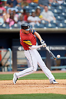 Toledo Mud Hens JaCoby Jones, on rehab assignment from the Detroit Tigers, fouls a pitch off during an International League game against the Durham Bulls on July 16, 2019 at Fifth Third Field in Toledo, Ohio.  Durham defeated Toledo 7-1.  (Mike Janes/Four Seam Images)