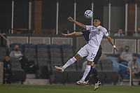 SAN JOSE, CA - SEPTEMBER 13: Joe Corona #15 of the L.A. Galaxy heads the ball during a game between Los Angeles Galaxy and San Jose Earthquakes at Earthquakes Stadium on September 13, 2020 in San Jose, California.