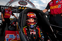 Sep 1, 2019; Clermont, IN, USA; NHRA top fuel driver Brittany Force during qualifying for the US Nationals at Lucas Oil Raceway. Mandatory Credit: Mark J. Rebilas-USA TODAY Sports