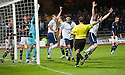 Forfar players bundle the ball into the net but the goal was disallowed by Referee Crawford Allan.