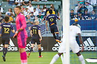 CARSON, CA - JUNE 19: Raúl Ruidíaz #9 of the Seattle Sounders FC scores a goal and celebrates during a game between Seattle Sounders FC and Los Angeles Galaxy at Dignity Health Sports Park on June 19, 2021 in Carson, California.