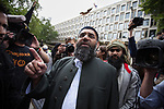 © Joel Goodman - 07973 332324 - all rights reserved . 11/09/2010 . London , UK . ANJEM CHOUDARY . Muslims Against Crusades hold a demonstration outside the American Embassy in London on the 9th anniversary of the terrorist attack on the World Trade Centre and other targets in America . Photo credit : Joel Goodman