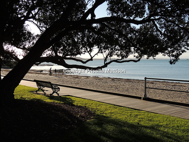 Auckland, New Zealand - September 18, 2012:  A peaceful afternoon on the beach at Saint Heliers.