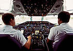 12 November 1992: View inside the cockpit of an ALM jet on the runway at Flamingo Airport, in Bonaire, Netherlands Antilles. The now defunct airline ALM, was at the time the national airline for the Dutch Islands of Aruba, Bonaire and Curacao (known as the ABC Islands). The island chain is located just north of Venezuela. Mandatory Credit: Ed Wolfstein Photo