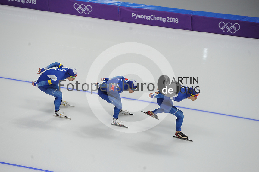 OLYMPIC GAMES: PYEONGCHANG: 18-02-2018, Gangneung Oval, Long Track, Team Pursuit Men, Team Korea, Lee Seung-Hoon, Chung Jaewon, Kim Min Seok, ©photo Martin de Jong