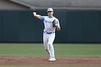 North Carolina Tar Heels shortstop Danny Serretti (1) on defense against the Virginia Cavaliers at Boshamer Stadium on February 27, 2021 in Chapel Hill, North Carolina. (Andy Mead/Four Seam Images)