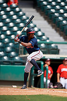 Atlanta Braves Jeremy Fernandez (27) at bat during a Florida Instructional League game against the Canadian Junior National Team on October 9, 2018 at the ESPN Wide World of Sports Complex in Orlando, Florida.  (Mike Janes/Four Seam Images)