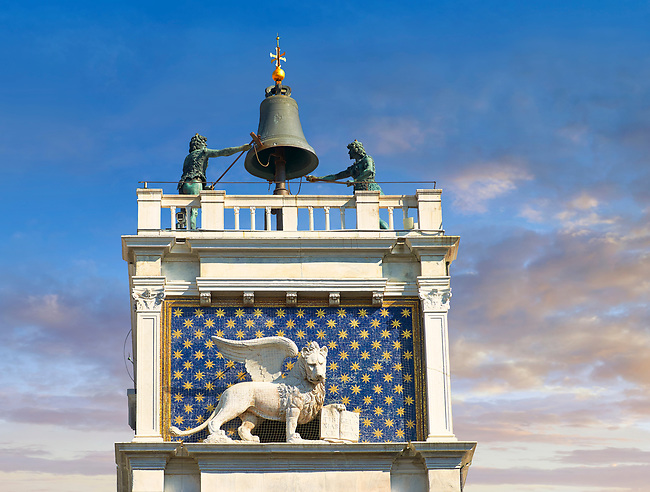 View of top of the astrological clock tower of Torre dell' Orologio, Saint Marks Square, San Marco, Venice,