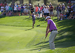 Robert Streb chips onto the 18th green during the Barracuda Championship PGA golf tournament at Montrêux Golf and Country Club in Reno, Nevada on Sunday, July 28, 2019.