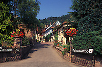 France, Alsace, Eguisheim, Haut-Rhin, Europe, wine region, Wine house in the village of Equisheim in the wine region of Alsace.
