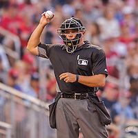 28 May 2016: MLB Umpire. Mark Carlson works home plate during a game between the St. Louis Cardinals and the Washington Nationals at Nationals Park in Washington, DC. The Cardinals defeated the Nationals 9-4 to take a 2-games to 1 lead in their 4-game series. Mandatory Credit: Ed Wolfstein Photo *** RAW (NEF) Image File Available ***