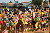 "Altamira, Brazil. ""Xingu Vivo Para Sempre"" protest meeting about the proposed Belo Monte hydroeletric dam and other dams on the Xingu river and its tributaries. Kayapo women and children."
