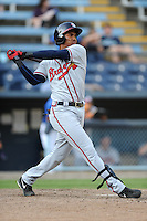 Rome Braves third baseman Carlos Franco #11 swings at a pitch during game one of a double header against the Asheville Tourists at McCormick Field on June 4, 2013 in Asheville, North Carolina. The Braves won the game 5-3. (Tony Farlow/Four Seam Images)