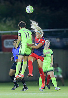 Boyds, MD - Wednesday Sept. 07, 2016: Line Sigvardsen Jensen, Keelin Winters during a regular season National Women's Soccer League (NWSL) match between the Washington Spirit and the Seattle Reign FC at Maureen Hendricks Field, Maryland SoccerPlex.