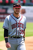 Quad Cities River Bandits first baseman Seth Beer (35) prior to a Midwest League game against the Kane County Cougars on July 1, 2018 at Northwestern Medicine Field in Geneva, Illinois. Quad Cities defeated Kane County 3-2. (Brad Krause/Four Seam Images)