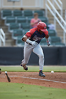 Armond Upshaw (2) of the Hagerstown Suns hustles down the first base line against the Kannapolis Intimidators at Kannapolis Intimidators Stadium on August 27, 2019 in Kannapolis, North Carolina. The Intimidators defeated the Suns 5-4. (Brian Westerholt/Four Seam Images)
