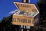 Advertising sign for restaurant in Pisco Elqui Chile South America 2000s