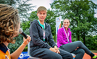 Den Bosch, Netherlands, 13 June, 2018, Tennis, Libema Open, Kidsday, kids press conference with Demi Schuurs (NED) (L) and Bibiane Schoofs (NED)<br /> Photo: Henk Koster/tennisimages.com
