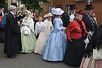 Charles Dickens Festival. Rochester Kent UK. Women wearing crinoline dresses. Crinolines period Victorian costume. 2012.