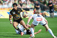 Ken Pisi of Northampton Saints focusses on the tryline during the Aviva Premiership match between Northampton Saints and Exeter Chiefs at Franklin's Gardens on Sunday 9th September 2012 (Photo by Rob Munro)
