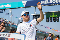 March 17, 2019: Valtteri Bottas (FIN) #77 from the Mercedes AMG Petronas Motorsport team waves to the crowd during the drivers parade prior to the start of the 2019 Australian Formula One Grand Prix at Albert Park, Melbourne, Australia. Photo Sydney Low