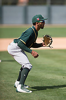 Oakland Athletics third baseman Yerdel Vargas (6) during a Minor League Spring Training game against the San Francisco Giants at Lew Wolff Training Complex on March 26, 2018 in Mesa, Arizona. (Zachary Lucy/Four Seam Images)