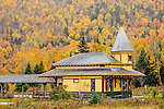 Fall foliage at the Crawford depot in Crawford Notch, White Mountain National Forest, New Hampshire, USA