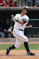 Taylor Grote #23  of the Charleston RiverDogs at bat during a game against the Rome Braves on April 27, 2010 in Charleston, SC.