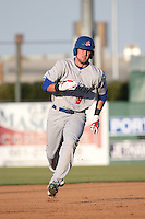 Seth Brown (9) of the Stockton Ports runs the bases during a game against the Lancaster JetHawks at The Hanger on May 26, 2016 in Lancaster, California. Stockton defeated Lancaster, 16-7. (Larry Goren/Four Seam Images)