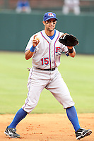 Round Rock Express third baseman Matt Kata #15 during a game versus the Memphis Redbirds at Autozone Park on April 30, 2011 in Memphis, Tennessee.  Memphis defeated Round Rock by the score of 10-7.  Photo By Mike Janes/Four Seam Images
