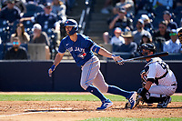 Toronto Blue Jays Randal Grichuk (15) bats during a Spring Training game against the New York Yankees on February 22, 2020 at the George M. Steinbrenner Field in Tampa, Florida.  (Mike Janes/Four Seam Images)