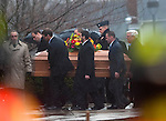 BETHLEHEM, CT 21 DECEMBER- 122112JS04- The casket for  Rachel D'Avino is carried into the Church of the Nativity in Bethlehem on Friday. D'Avino was  a behavioral therapist at Sandy Hook Elementary School in Newtown.  .Jim Shannon Republican American