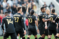 LOS ANGELES, CA - MARCH 01: Carlos Vela #10 of LAFC celebrates during a game between Inter Miami CF and Los Angeles FC at Banc of California Stadium on March 01, 2020 in Los Angeles, California.