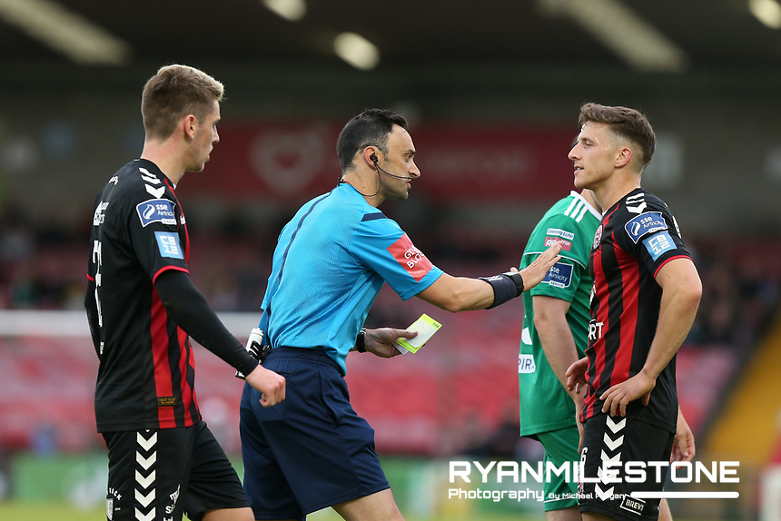 Keith Buckley of Bohemians receives a Yellow Card from Referee Neil McLoughlin during the SSE Airtricity League Premier Division game between Cork City and Bohemians on Friday 15th June 2018 at Turners Cross, Cork. Photo By Michael P Ryan