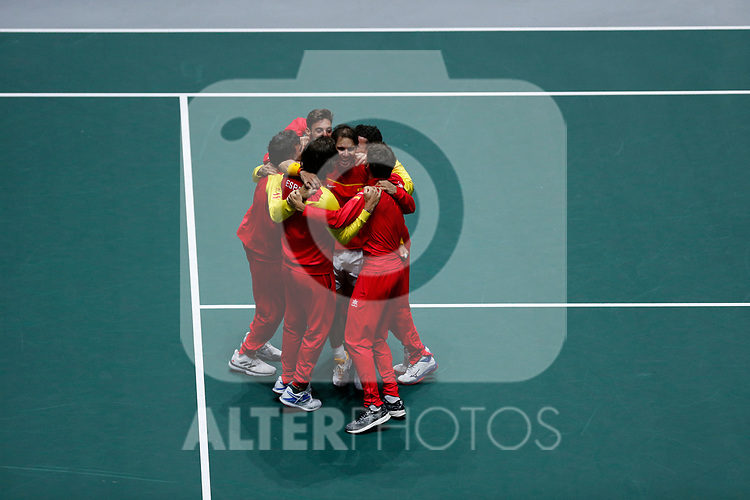Spain celebs their victory against Canada during Final, Day 7 of the 2019 Davis Cup at La Caja Magica in Madrid, Spain.