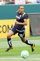 Marta #10 of the Los Angeles Sol attacks the defense of the Washington Freedom during their inaugural match at Home Depot Center on March 29, 2009 in Carson, California.