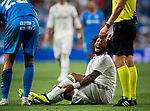Marcelo Vieira Da Silva of Real Madrid sits on the field in pain during the La Liga 2018-19 match between Real Madrid and Getafe CF at Estadio Santiago Bernabeu on August 19 2018 in Madrid, Spain. Photo by Diego Souto / Power Sport Images