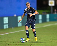 LAKE BUENA VISTA, FL - AUGUST 01: Anton Tinnerholm #3 of New York City FC looks for options on the flank during a game between Portland Timbers and New York City FC at ESPN Wide World of Sports on August 01, 2020 in Lake Buena Vista, Florida.