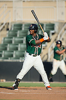 Isael Soto (15) of the Greensboro Grasshoppers at bat against the Kannapolis Intimidators at Intimidators Stadium on July 17, 2016 in Greensboro, North Carolina.  The Grasshoppers defeated the Intimidators 5-4 in game two of a double-header.  (Brian Westerholt/Four Seam Images)